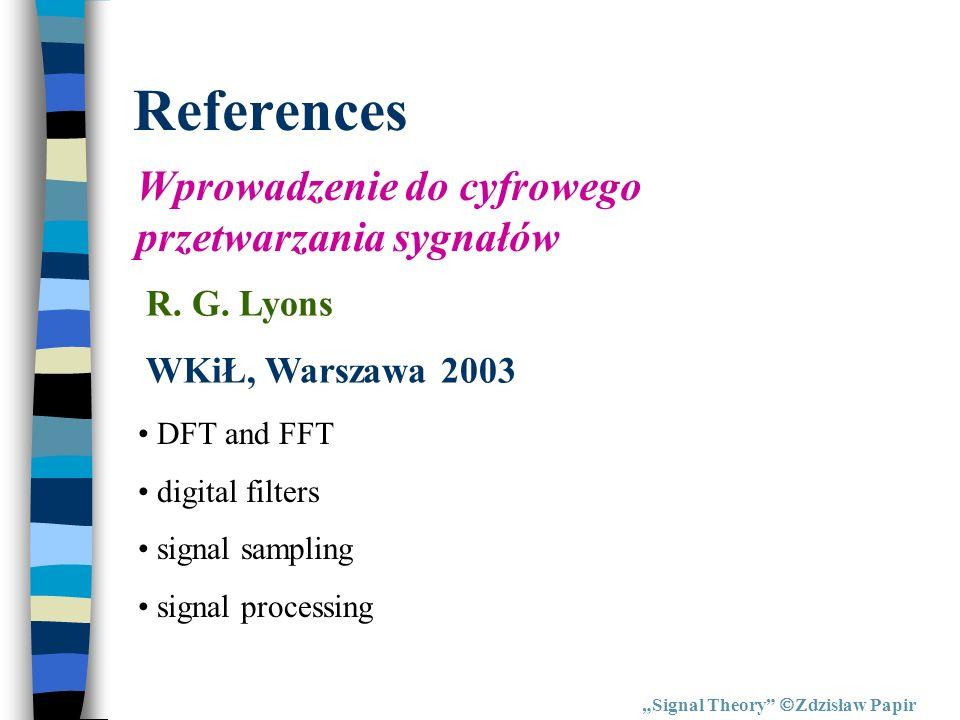 References Wprowadzenie do cyfrowego przetwarzania sygnałów