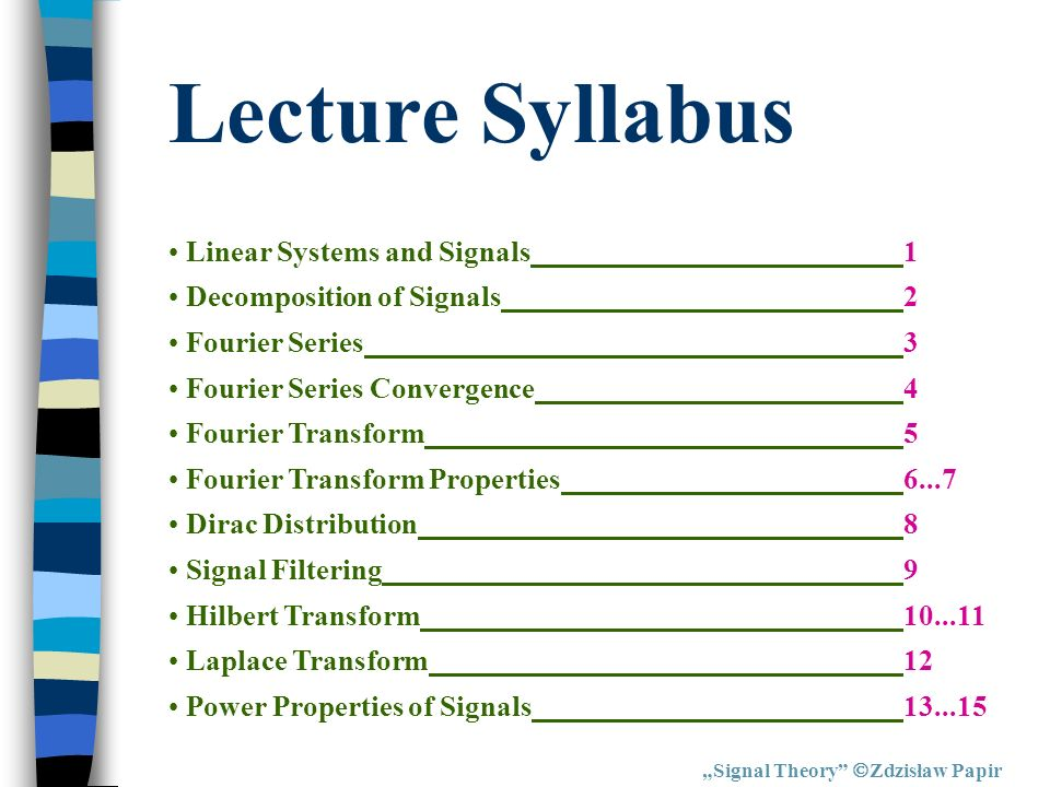 Lecture Syllabus Linear Systems and Signals 1