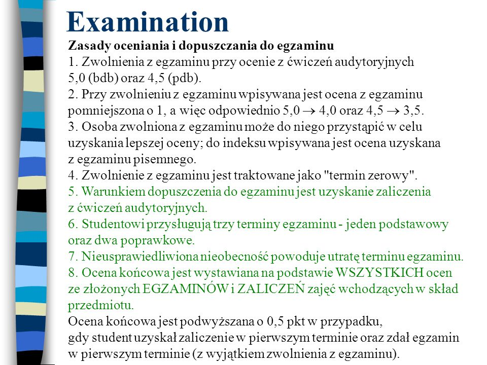 Examination Zasady oceniania i dopuszczania do egzaminu