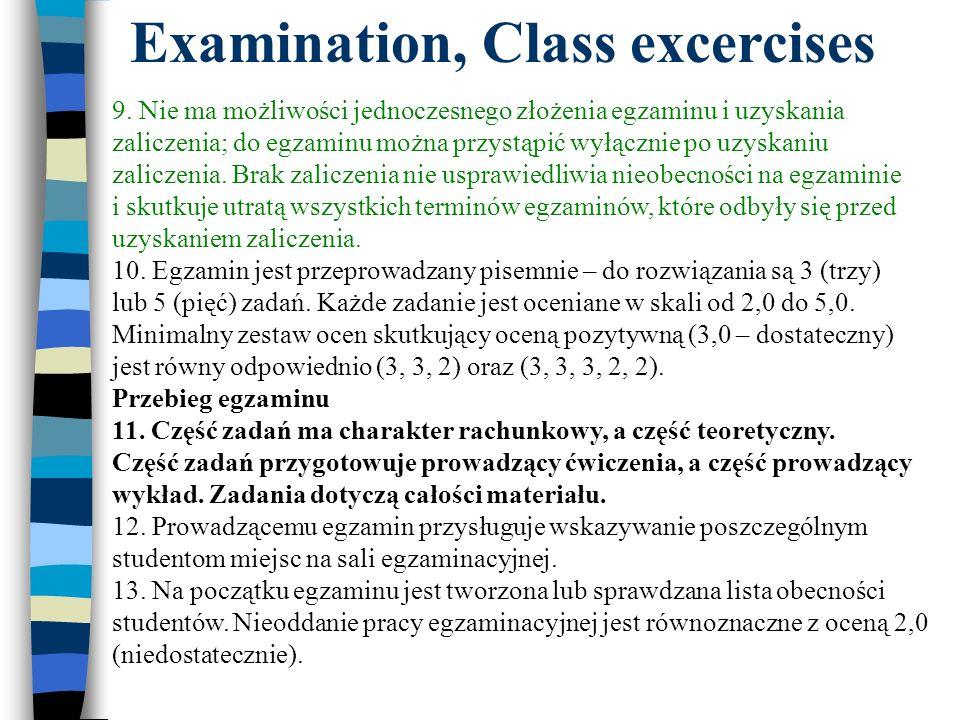 Examination, Class excercises