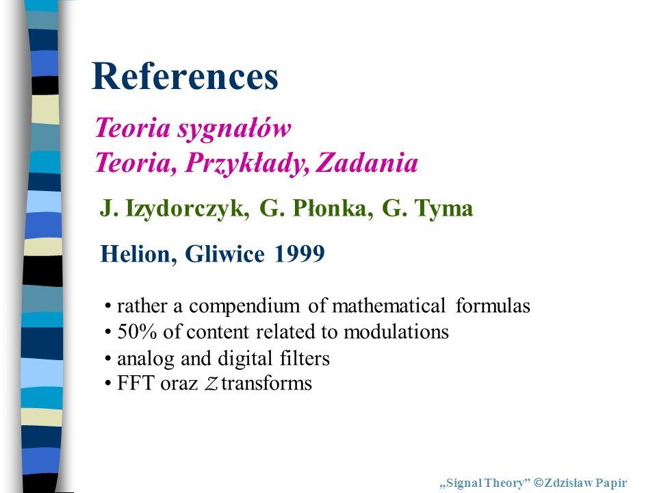 References Teoria sygnałów Teoria, Przykłady, Zadania