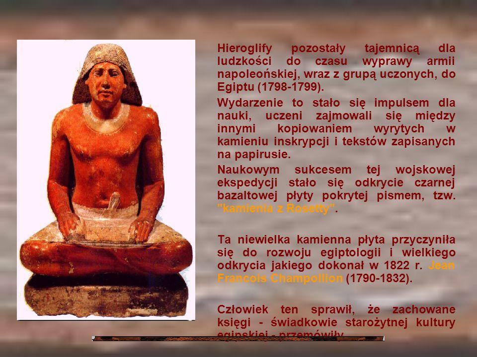 Hieroglify pozostały tajemnicą dla ludzkości do czasu wyprawy armii napoleońskiej, wraz z grupą uczonych, do Egiptu (1798-1799).