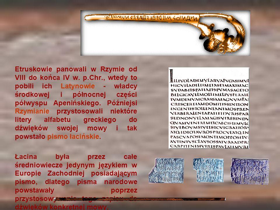 Etruskowie panowali w Rzymie od VIII do końca IV w. p. Chr