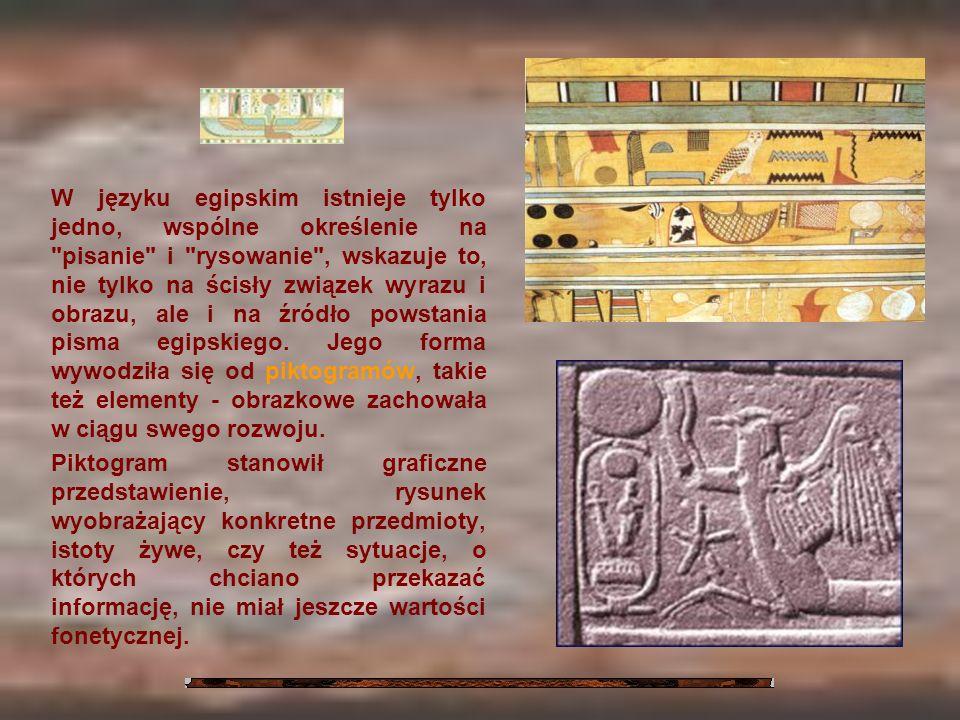 W języku egipskim istnieje tylko jedno, wspólne określenie na pisanie i rysowanie , wskazuje to, nie tylko na ścisły związek wyrazu i obrazu, ale i na źródło powstania pisma egipskiego. Jego forma wywodziła się od piktogramów, takie też elementy - obrazkowe zachowała w ciągu swego rozwoju.