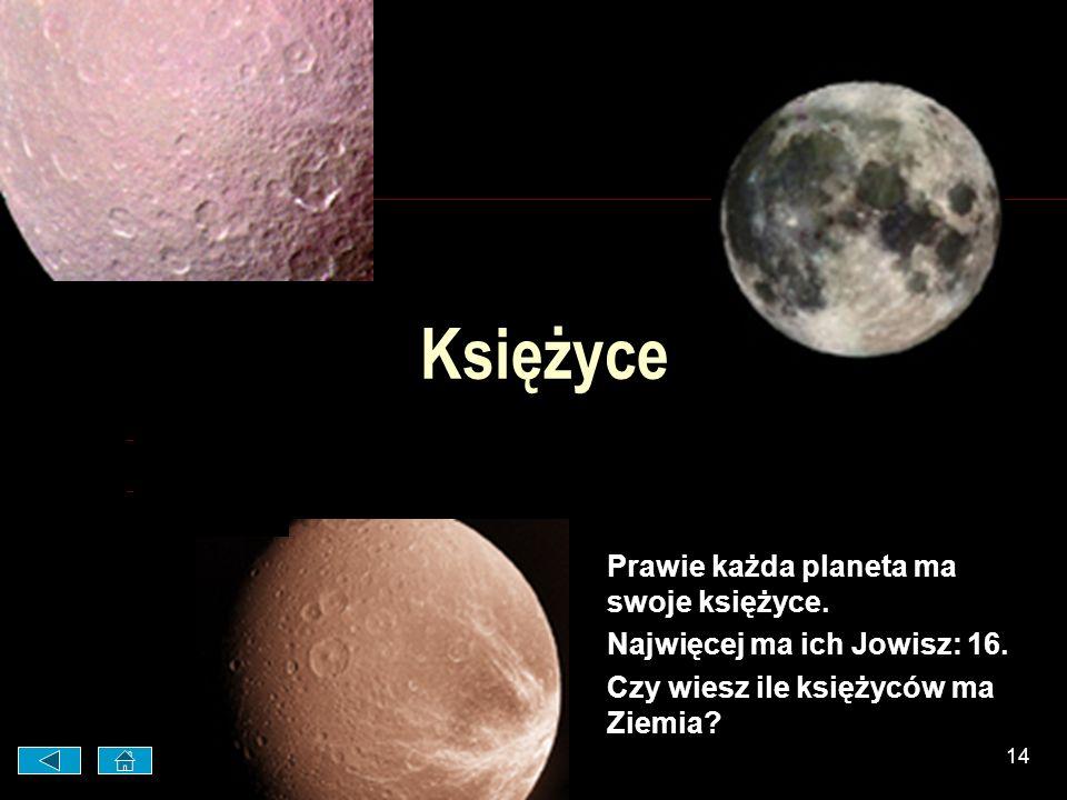 Księżyce Prawie każda planeta ma swoje księżyce.