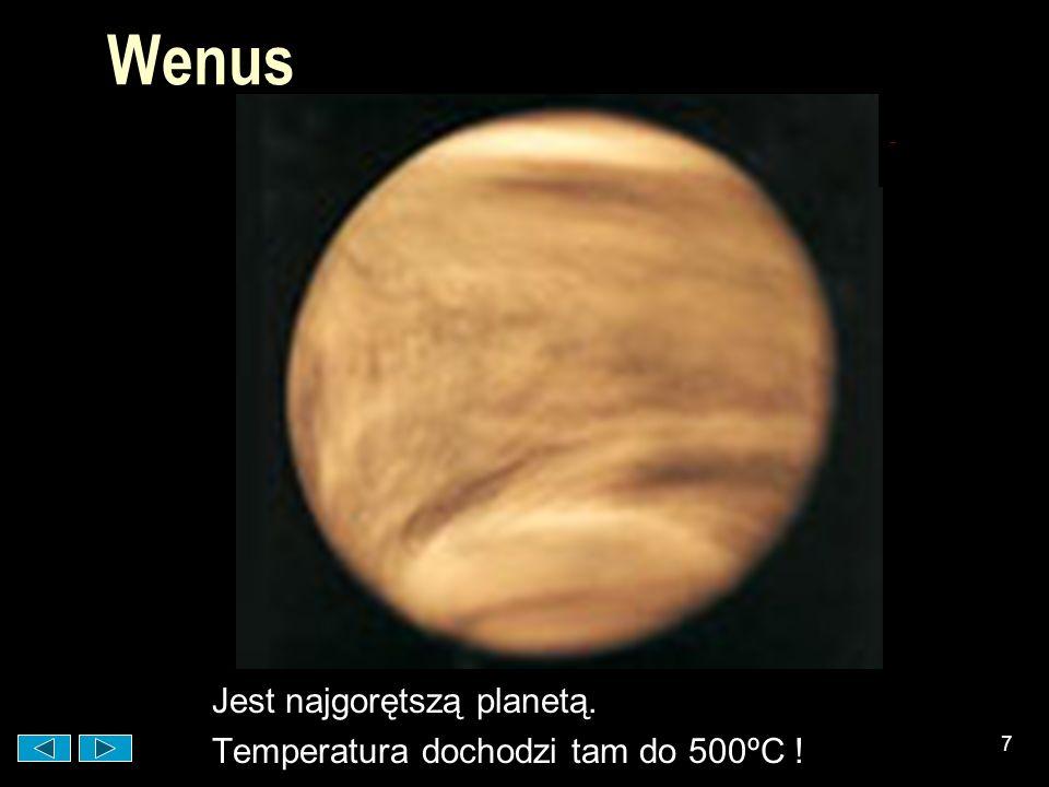 Wenus Jest najgorętszą planetą. Temperatura dochodzi tam do 500ºC !