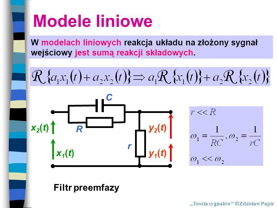 Modele liniowe R C r x1(t) y1(t) x2(t) y2(t) Filtr preemfazy