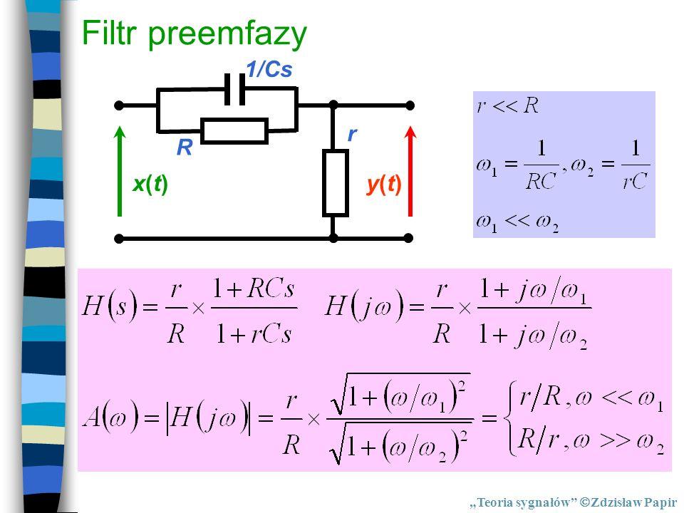 """Filtr preemfazy R 1/Cs r x(t) y(t) """"Teoria sygnałów Zdzisław Papir"""