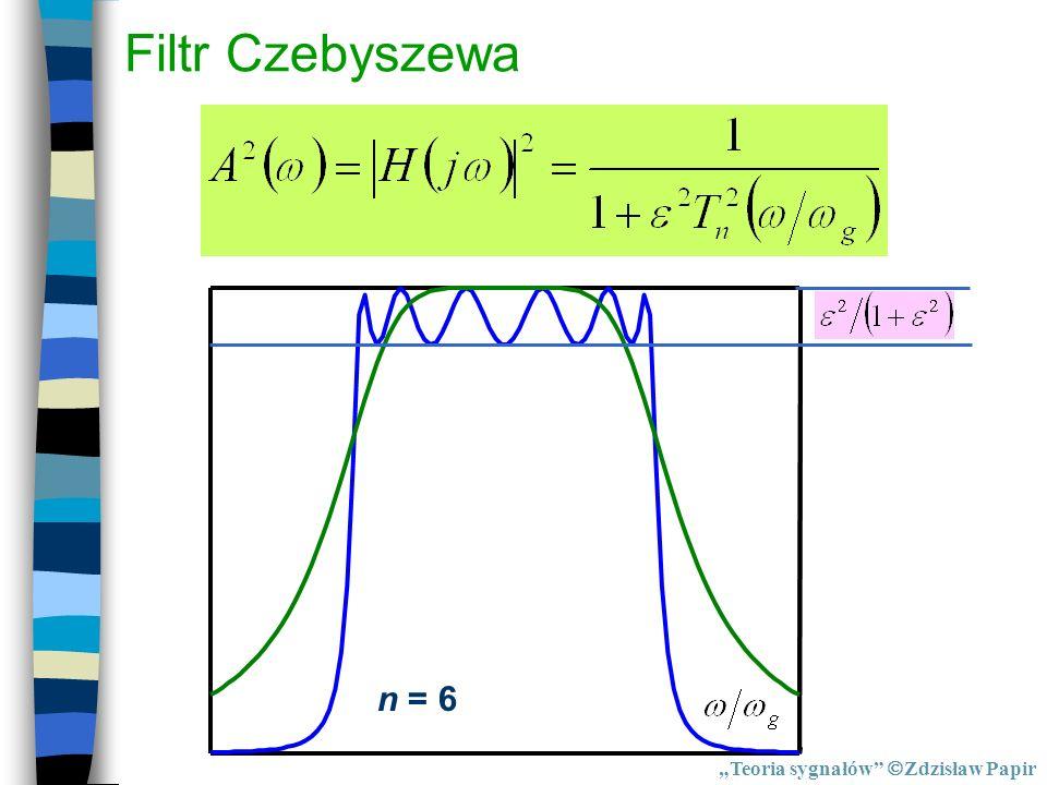"""Filtr Czebyszewa n = 6 """"Teoria sygnałów Zdzisław Papir"""