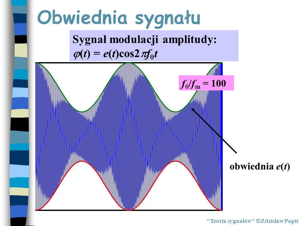 Obwiednia sygnału Sygnał modulacji amplitudy: (t) = e(t)cos2f0t