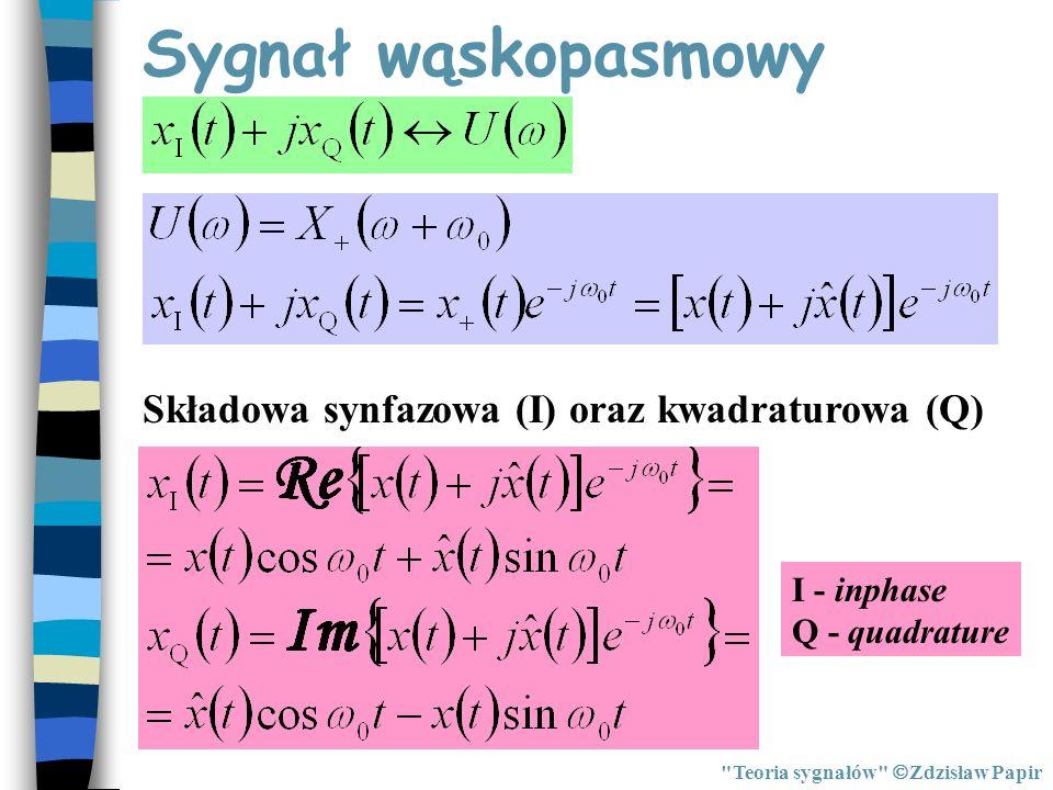 Sygnał wąskopasmowy Składowa synfazowa (I) oraz kwadraturowa (Q)