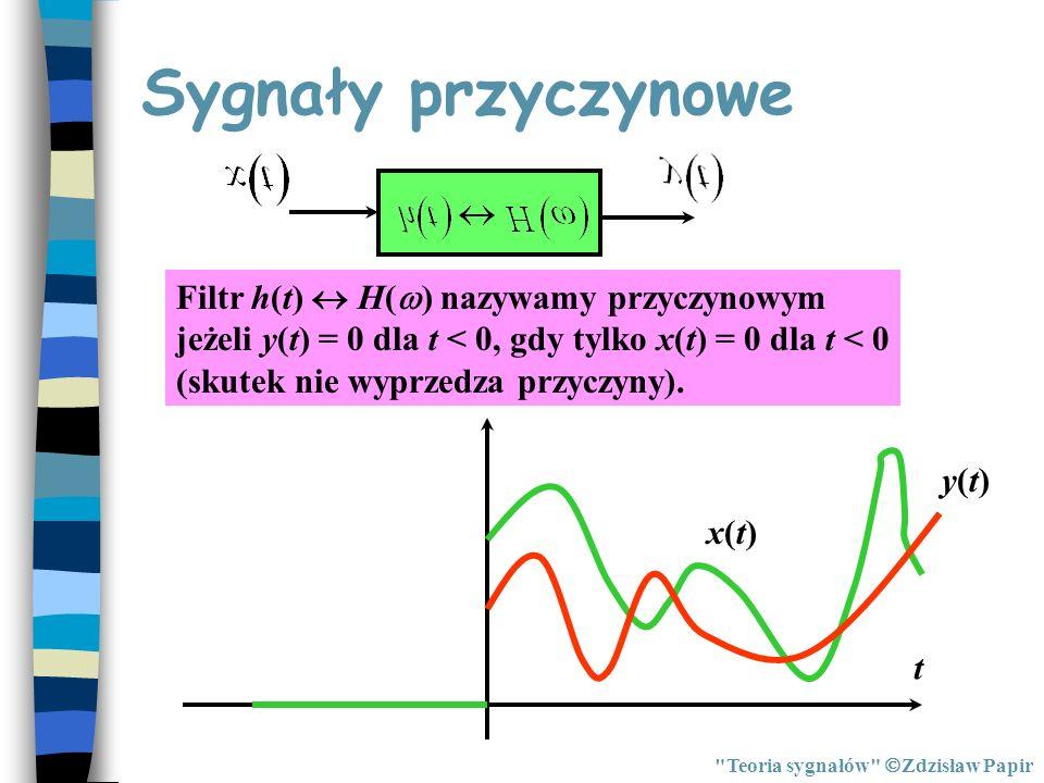 Sygnały przyczynowe Filtr h(t)  H() nazywamy przyczynowym