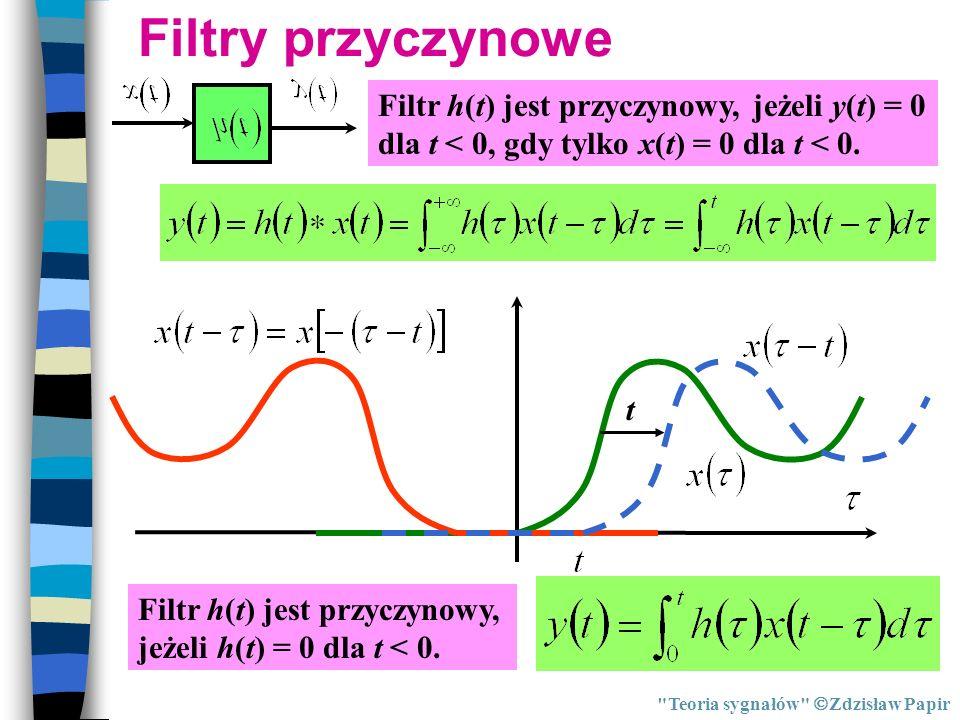 Filtry przyczynowe Filtr h(t) jest przyczynowy, jeżeli y(t) = 0 dla t < 0, gdy tylko x(t) = 0 dla t < 0.