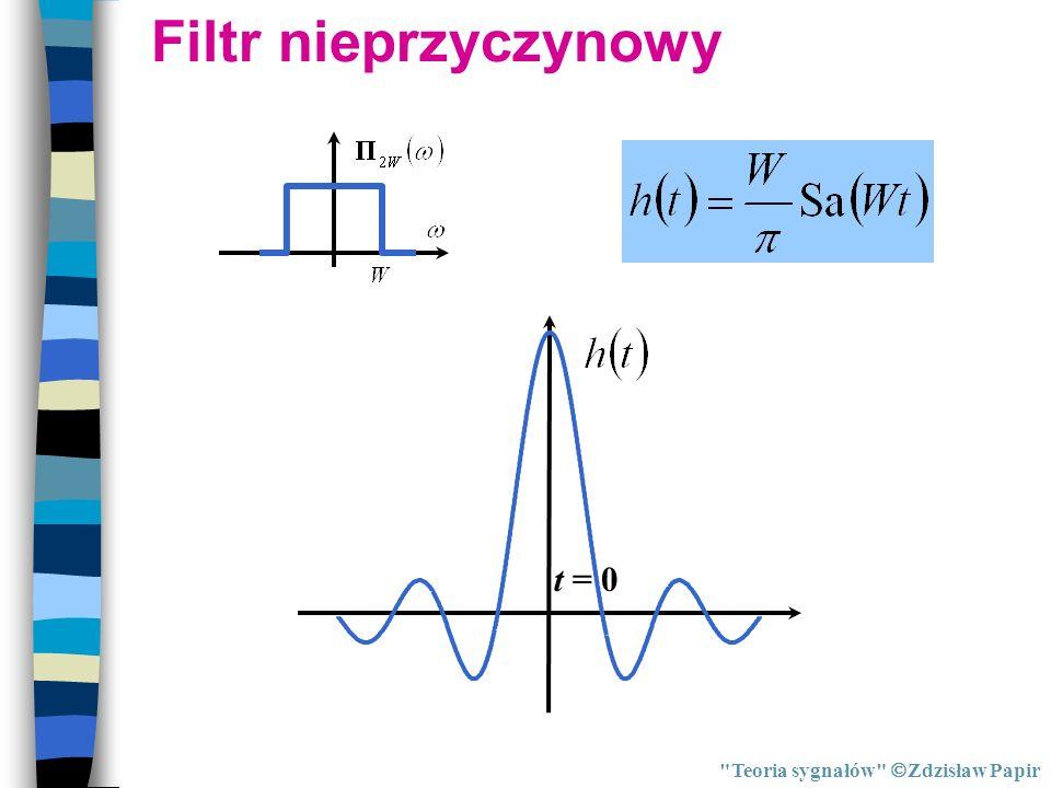 Filtr nieprzyczynowy t = 0 Teoria sygnałów Zdzisław Papir
