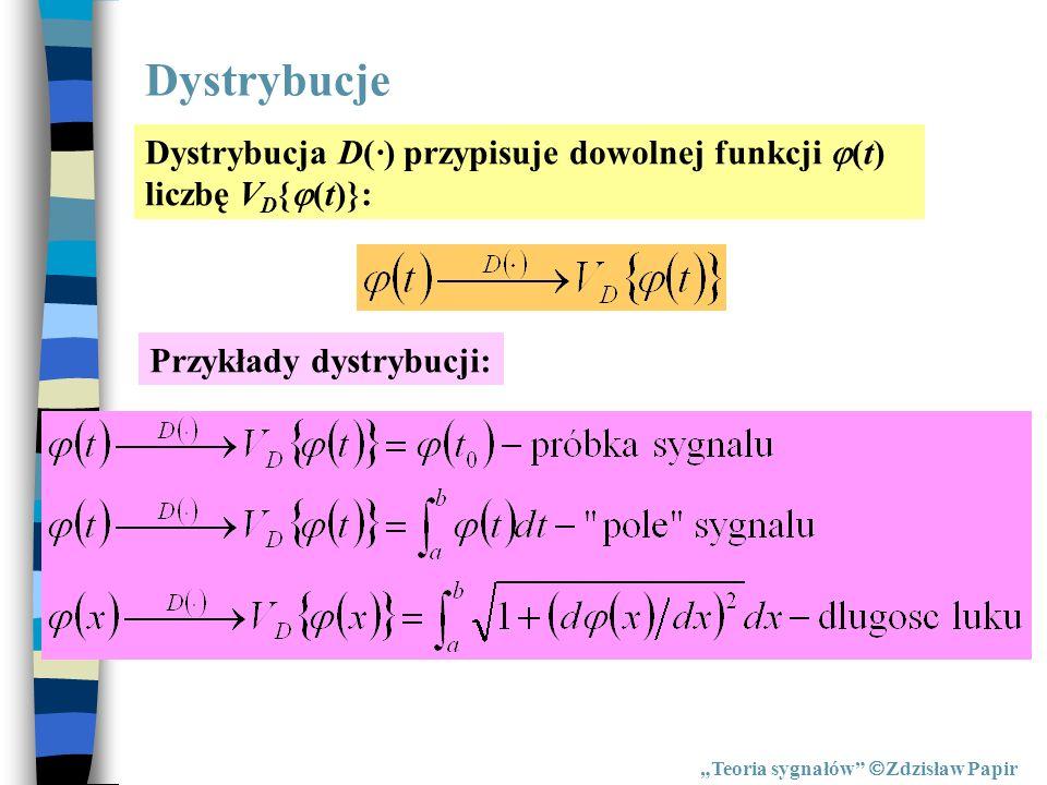 Dystrybucje Dystrybucja D(·) przypisuje dowolnej funkcji (t) liczbę VD{(t)}: Przykłady dystrybucji: