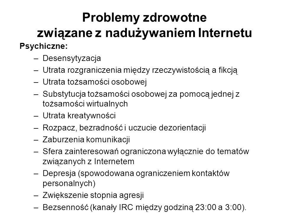Problemy zdrowotne związane z nadużywaniem Internetu