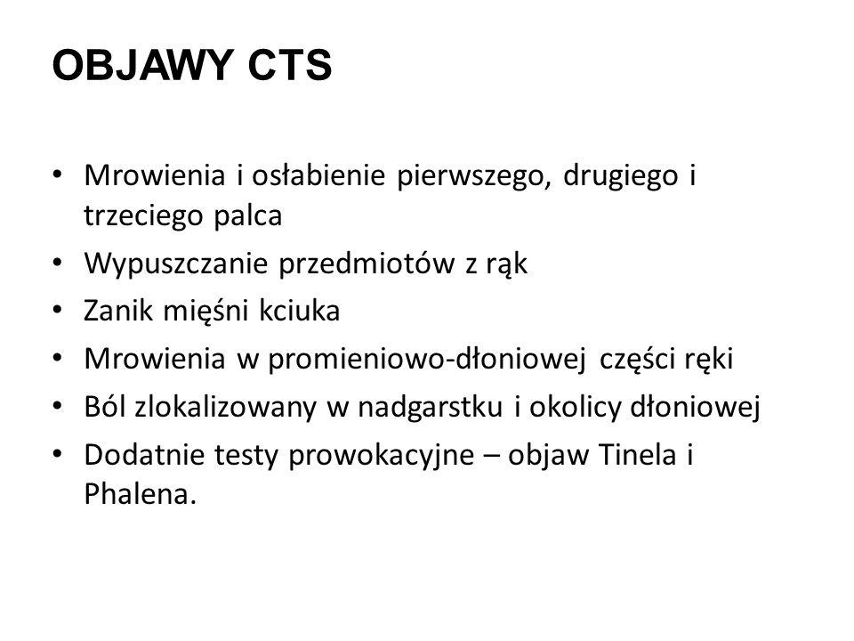 Objawy CTS Mrowienia i osłabienie pierwszego, drugiego i trzeciego palca. Wypuszczanie przedmiotów z rąk.