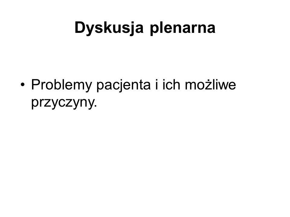 Dyskusja plenarna Problemy pacjenta i ich możliwe przyczyny.