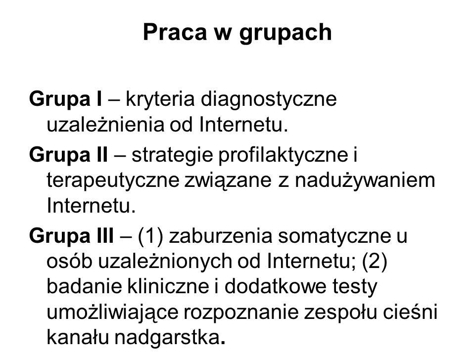 Praca w grupach Grupa I – kryteria diagnostyczne uzależnienia od Internetu.