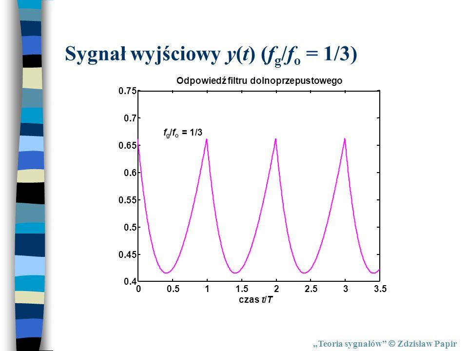 Sygnał wyjściowy y(t) (fg/fo = 1/3)