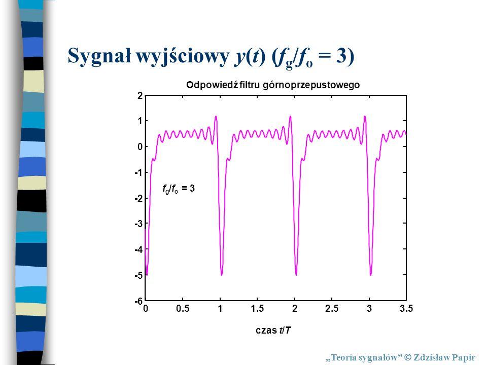 Sygnał wyjściowy y(t) (fg/fo = 3)