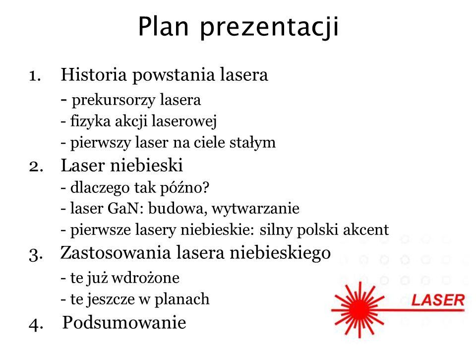 Plan prezentacji Historia powstania lasera - prekursorzy lasera