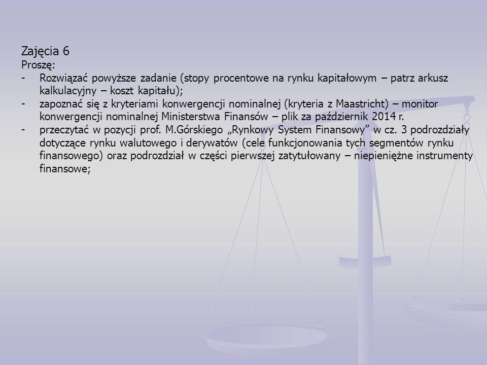 Zajęcia 6 Proszę: Rozwiązać powyższe zadanie (stopy procentowe na rynku kapitałowym – patrz arkusz kalkulacyjny – koszt kapitału);