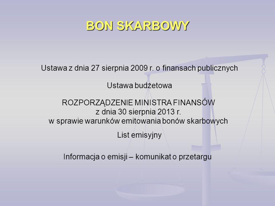 BON SKARBOWY Ustawa z dnia 27 sierpnia 2009 r. o finansach publicznych