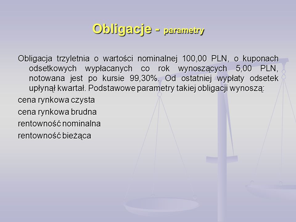 Obligacje - parametry