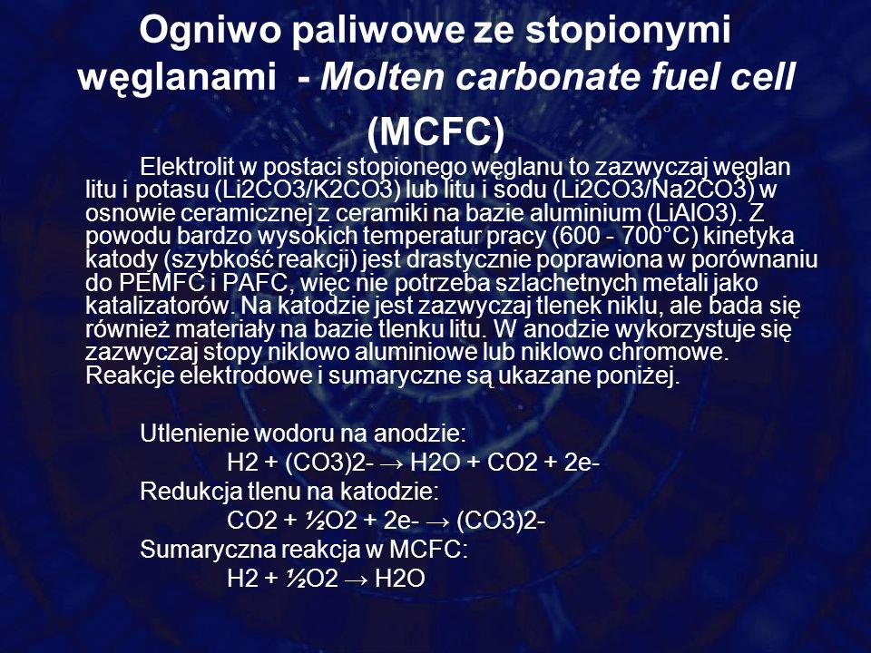 Ogniwo paliwowe ze stopionymi węglanami - Molten carbonate fuel cell (MCFC)