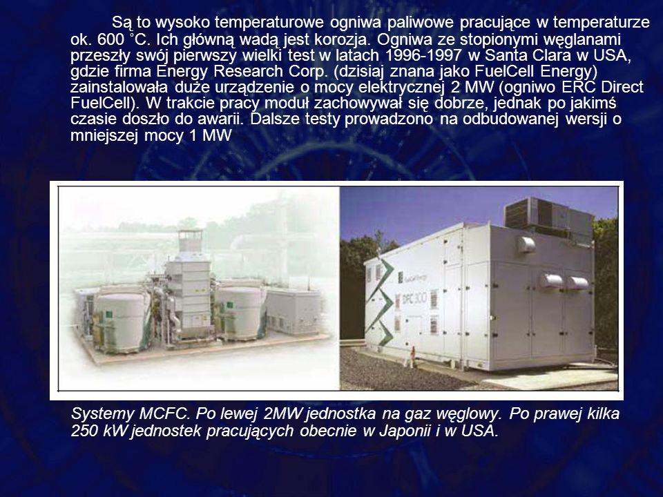 Są to wysoko temperaturowe ogniwa paliwowe pracujące w temperaturze ok