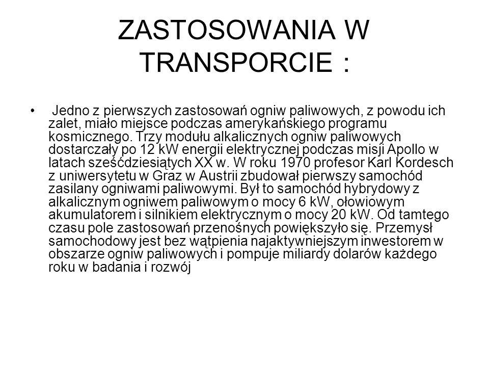 ZASTOSOWANIA W TRANSPORCIE :