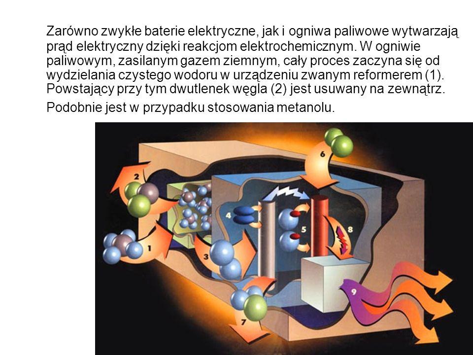 Zarówno zwykłe baterie elektryczne, jak i ogniwa paliwowe wytwarzają prąd elektryczny dzięki reakcjom elektrochemicznym.