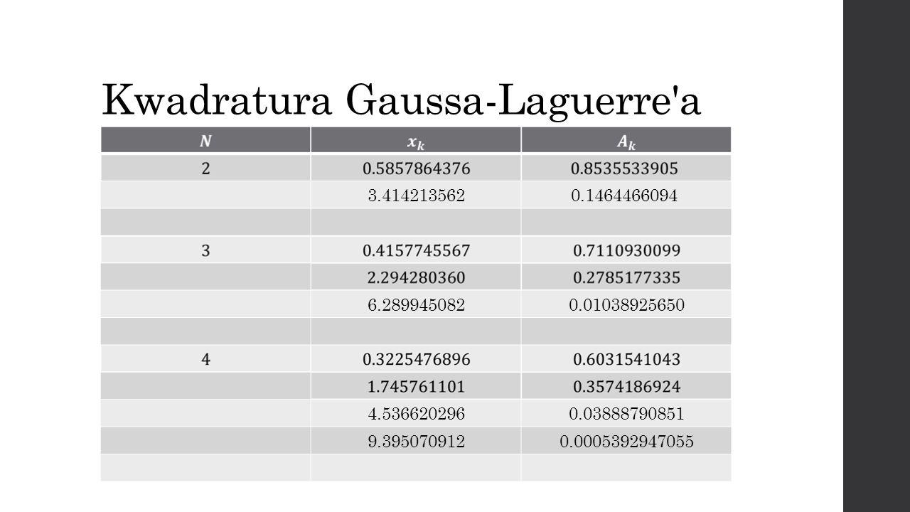 Kwadratura Gaussa-Laguerre a