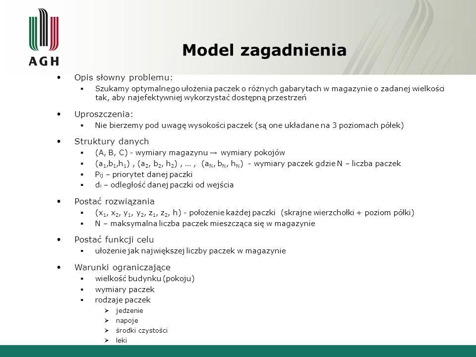 Model zagadnienia Opis słowny problemu: Uproszczenia: Struktury danych