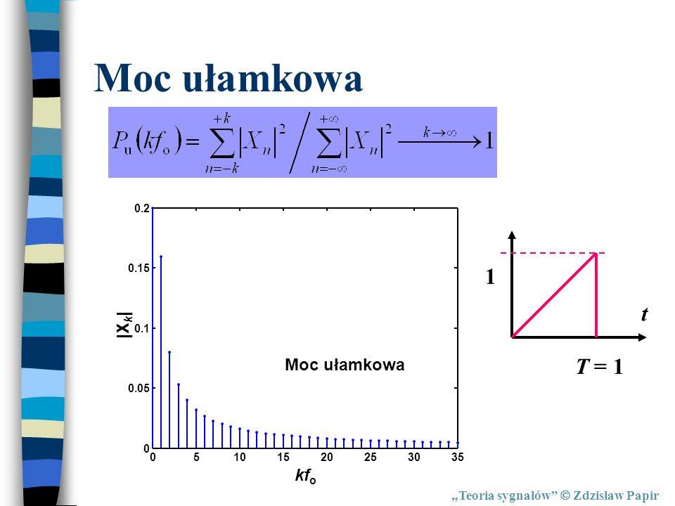 Moc ułamkowa 1 t T = 1 |Xk| Moc ułamkowa kfo