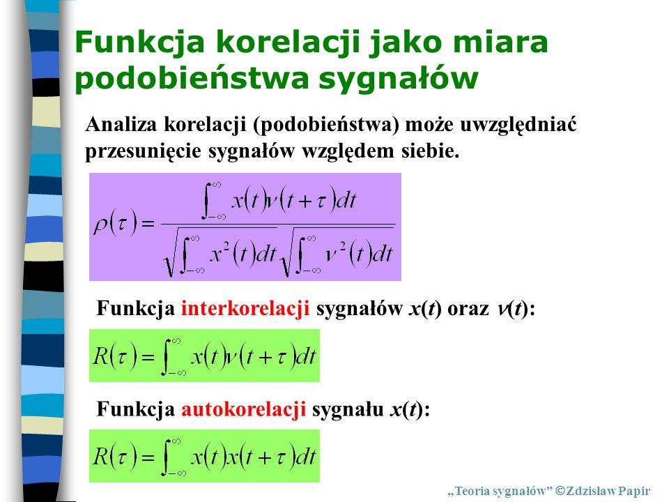 Funkcja korelacji jako miara podobieństwa sygnałów