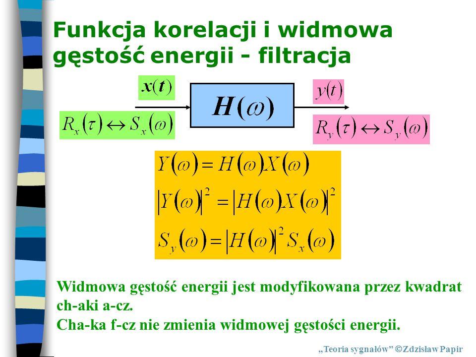 Funkcja korelacji i widmowa gęstość energii - filtracja