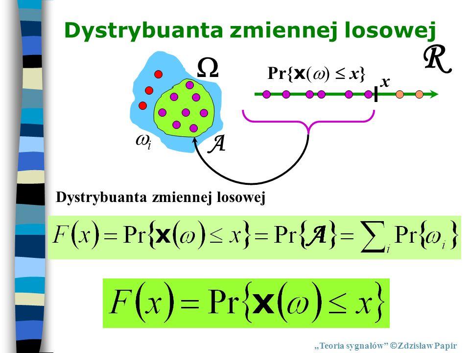 R  A Dystrybuanta zmiennej losowej i Pr{x()  x} x