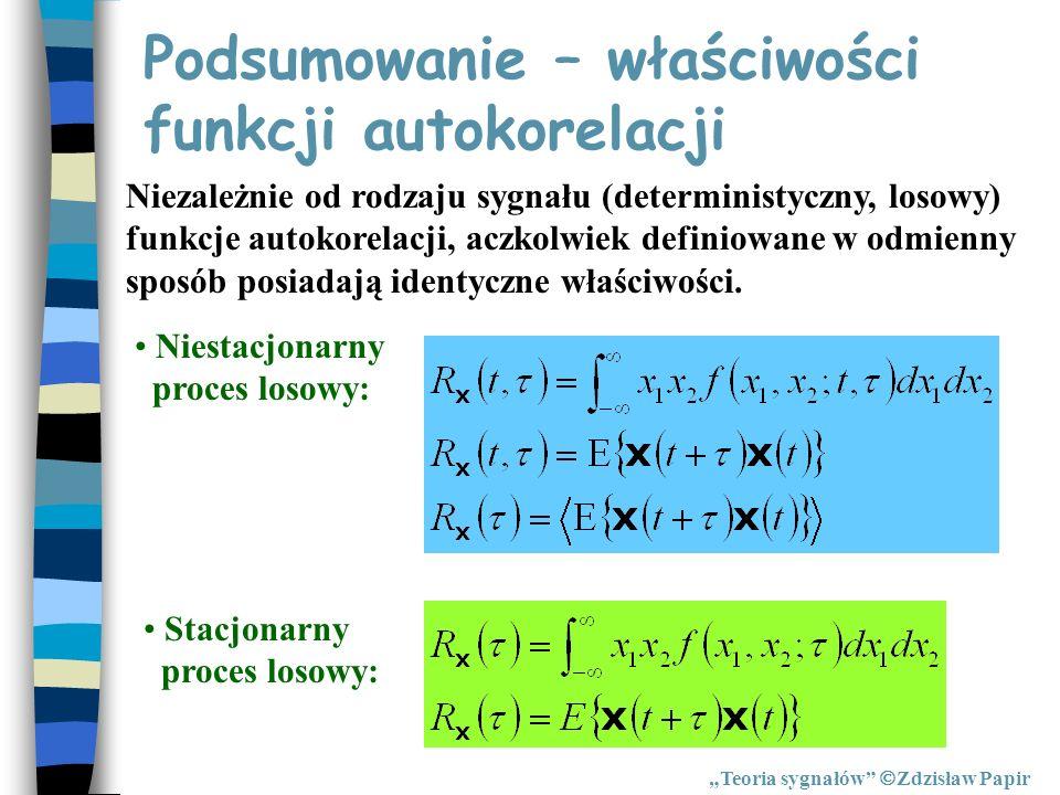 Podsumowanie – właściwości funkcji autokorelacji