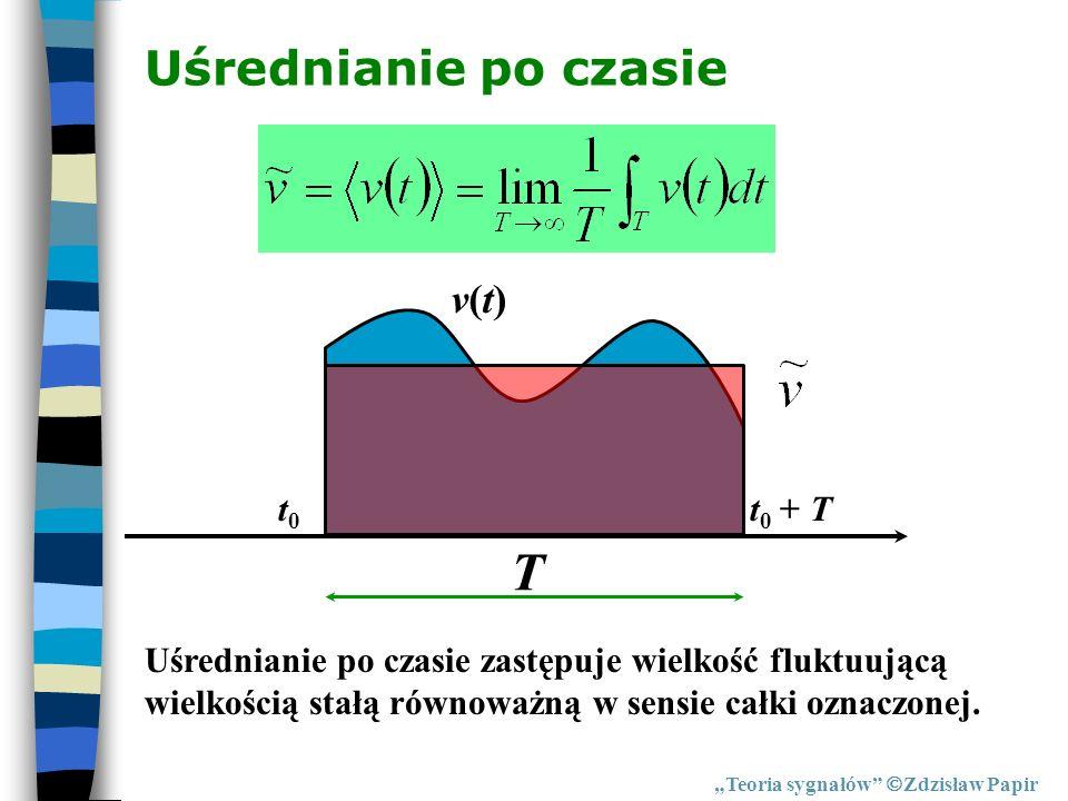 T Uśrednianie po czasie v(t) t0 t0 + T