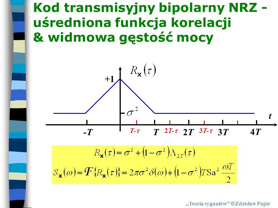 Kod transmisyjny bipolarny NRZ - uśredniona funkcja korelacji & widmowa gęstość mocy