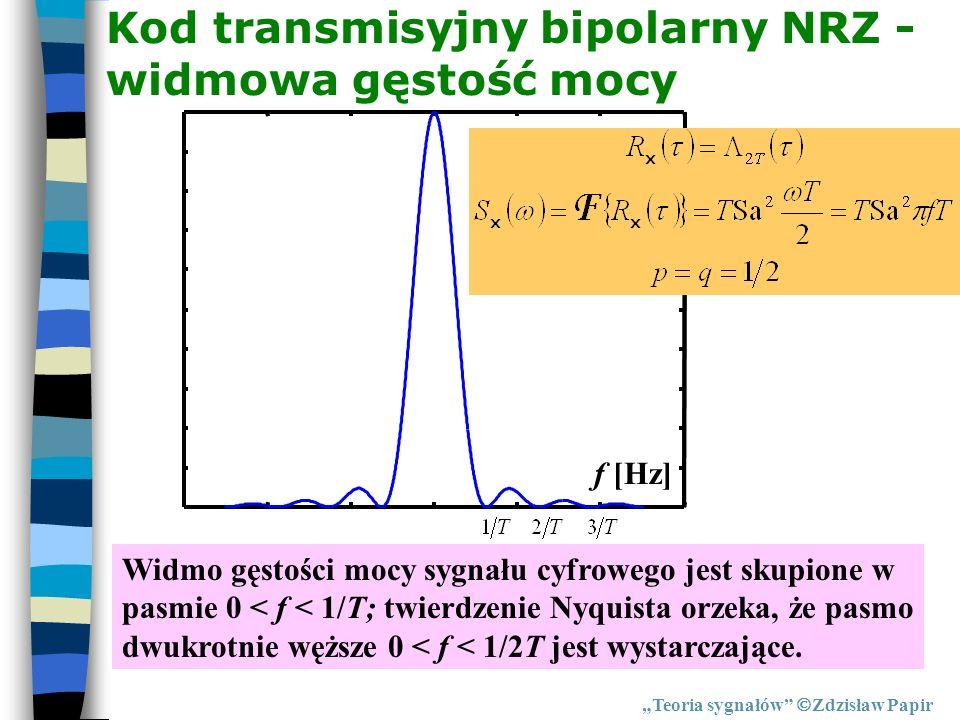 Kod transmisyjny bipolarny NRZ - widmowa gęstość mocy