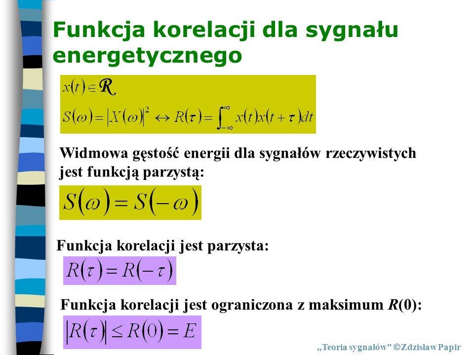 Funkcja korelacji dla sygnału energetycznego