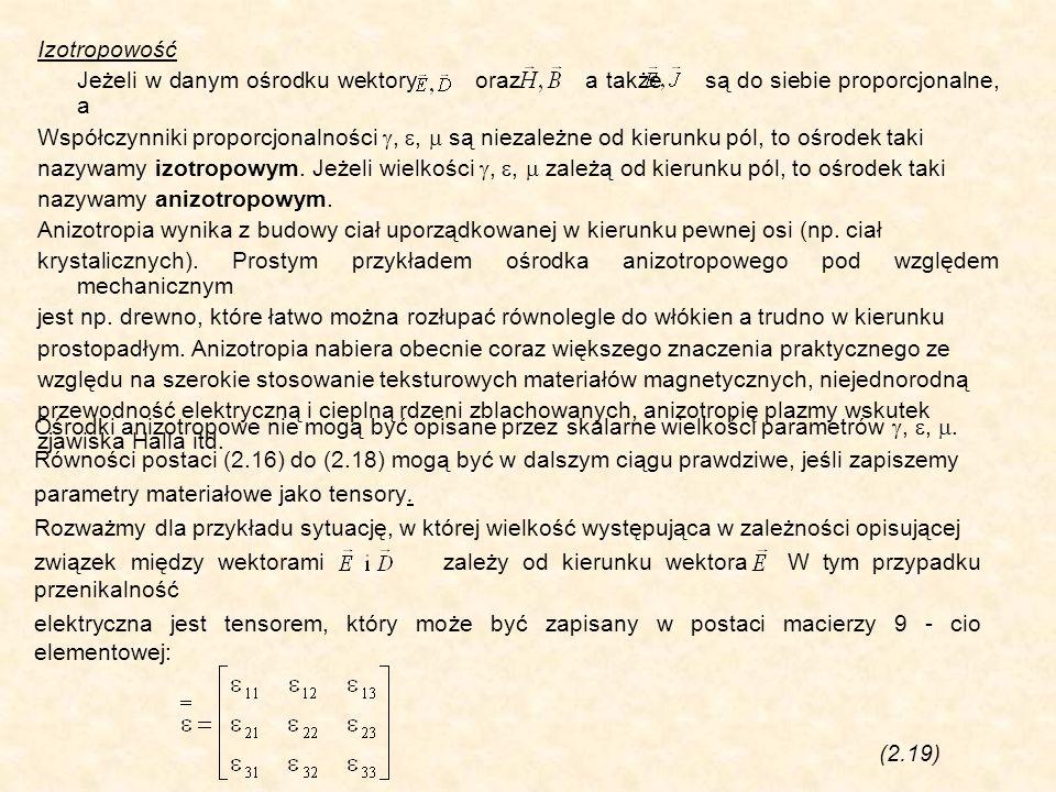 Izotropowość Jeżeli w danym ośrodku wektory oraz a także są do siebie proporcjonalne, a.