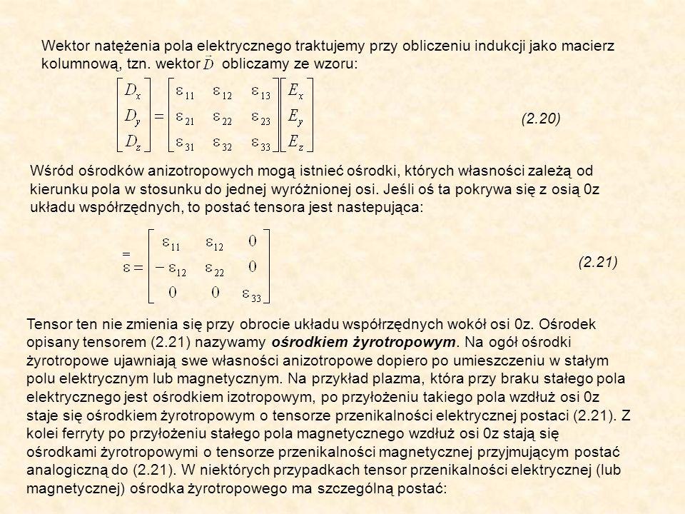 Wektor natężenia pola elektrycznego traktujemy przy obliczeniu indukcji jako macierz