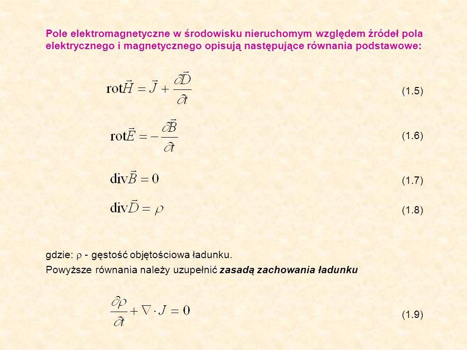 Pole elektromagnetyczne w środowisku nieruchomym względem źródeł pola elektrycznego i magnetycznego opisują następujące równania podstawowe: