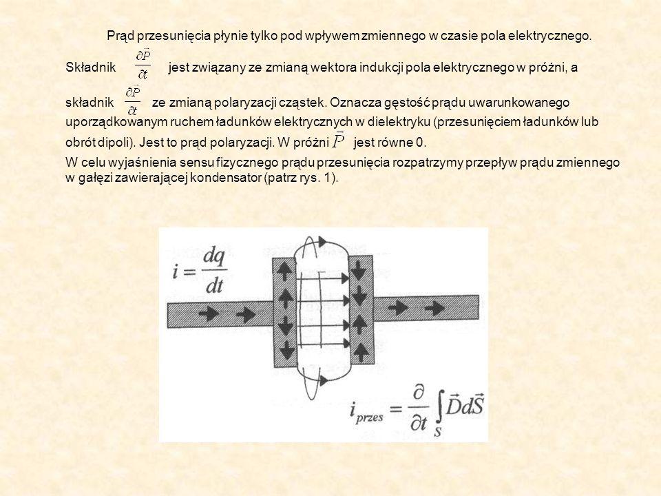 Prąd przesunięcia płynie tylko pod wpływem zmiennego w czasie pola elektrycznego. Składnik jest związany ze zmianą wektora indukcji pola elektrycznego w próżni, a składnik ze zmianą polaryzacji cząstek. Oznacza gęstość prądu uwarunkowanego uporządkowanym ruchem ładunków elektrycznych w dielektryku (przesunięciem ładunków lub obrót dipoli). Jest to prąd polaryzacji. W próżni jest równe 0.