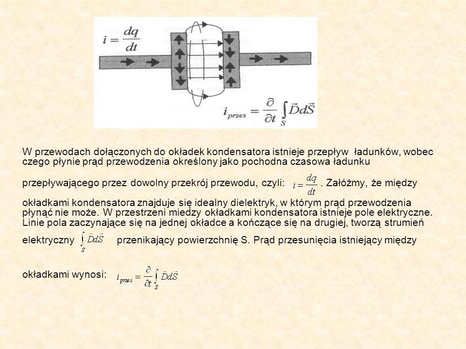 W przewodach dołączonych do okładek kondensatora istnieje przepływ ładunków, wobec czego płynie prąd przewodzenia określony jako pochodna czasowa ładunku przepływającego przez dowolny przekrój przewodu, czyli: . Załóżmy, że między