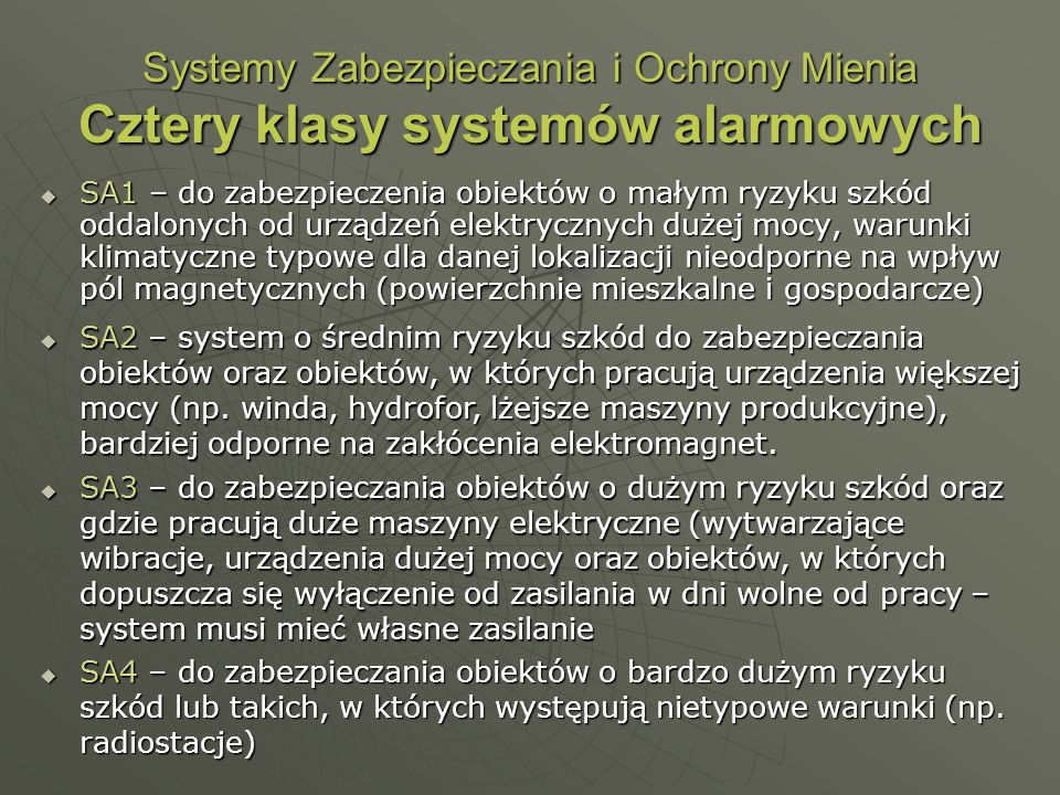 Systemy Zabezpieczania i Ochrony Mienia Cztery klasy systemów alarmowych